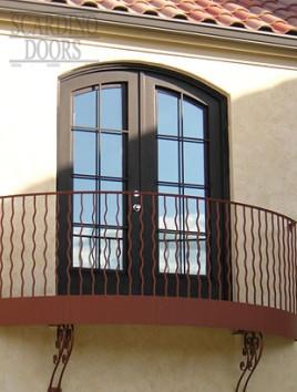 American Elliptical Top Ornamental Wrought Iron Balcony Doors