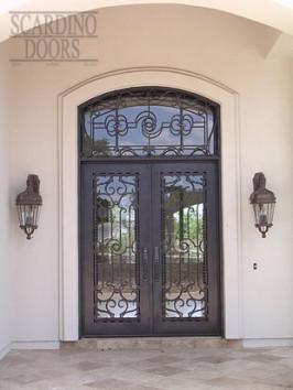 Asian Mandarin Flat Top Wrought Iron Doors with Transom