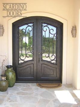 Custom Ornamental Wrought Iron & Glass Double Elliptical Top Doors