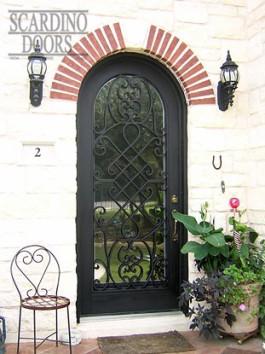 Custom English Canterbury Wrought Iron & Glass Radius Door