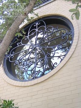 Custom Full Round French Rose Wrought Iron Window