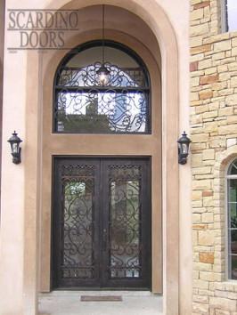Custom Square Wrought Iron Italian Doors & Transom Window