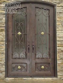 Custom Double Elliptical Top English Windsor Wrought Iron & Glass Doors