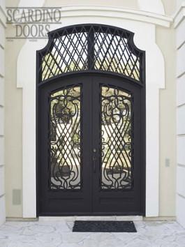Custom Italian Double Elliptical Top Wrought Iron Doors & Double Elliptical Top Transom Window
