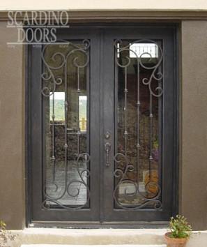 Custom Edinburgh Ornamental Wrought Iron & Glass Square Doors