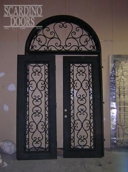Custom Flat Top Wrought Iron Italian Doors & Iron Radius Window