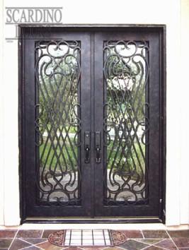 Custom Flat Top Italian Wrought Iron & Glass Doors