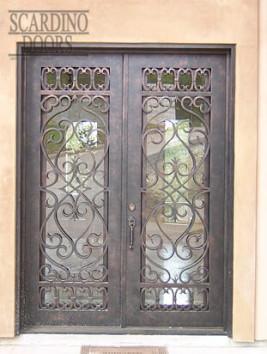 Custom Flat Top Wrought Iron & Glass Italian Doors
