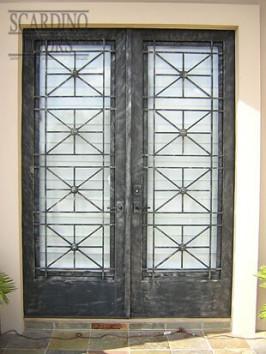 Custom Flat Top Italian Roman Wrought Iron Doors with Geometric Inlays