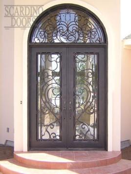 Modern Art Square Wrought Iron Doors with Iron Radius