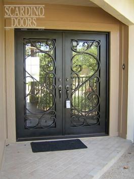 Modern Art Flat Top Sunny Wrought Iron Doors