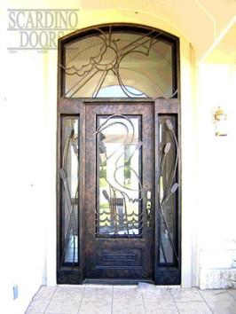 Modern Art Wrought Iron Doors with Heron Bird Pattern
