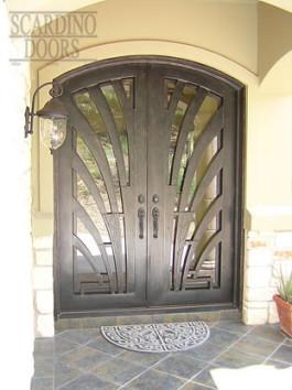 Modern Art Wrought Iron Doors with Sunlight Pattern