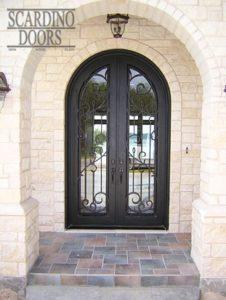 Modern Art Floral Ornamental Wrought Iron Doors