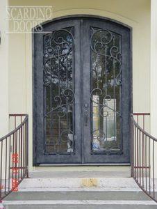 Modern Art Ornamental Wrought Iron Doors with Bars
