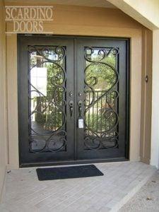 Modern Art Square Sunny Wrought Iron Doors
