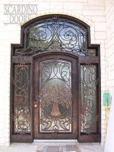 Modern Art Wrought Iron Door, Side Panels & Transom with Tree Pattern