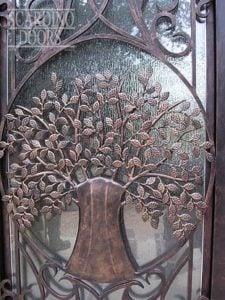 Modern Art Wrought Iron Door with Tree Detailing