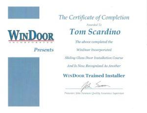 Tom Scardino's WinDoor Trained Installer certification.