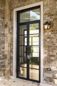 Modern glass and wrought iron door